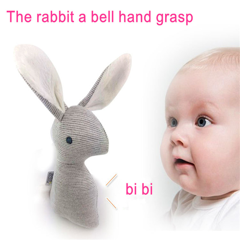 0-12 months BB Rabbit Baby Toys Plush Bunny Rattle mobiles Infant Ring Bell Crib Bed Hanging Animal Bebe Toy Kids Doll(China (Mainland))