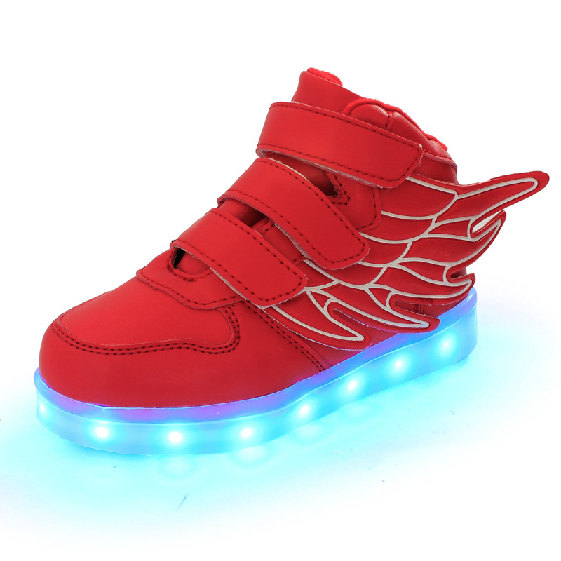 2016 lemon Pink White glow with wing Trainer Superstar tenis Led Basket Footwear Light up Shoe Luminous chaussure for feminino(China (Mainland))