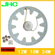 Ring Ceiling Lights Aluminum Plate High Quality SMD5730 LED Ceiling Lamp 2x24w 18W 12W AC90V~260V Warm White+Cool White In 1 PCB