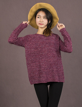 2016 Spring Women Mixed Color Wool Plus Size Oversized Loose Knitted Pullover Jumper Sweater O-Neck Long Sleeve Fashion(China (Mainland))