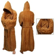 Star Wars Jedi Knight Robe Deluxe Bath Robe Carnival Cosplay Costume Brown Black Robe Hoodie Free Shipping
