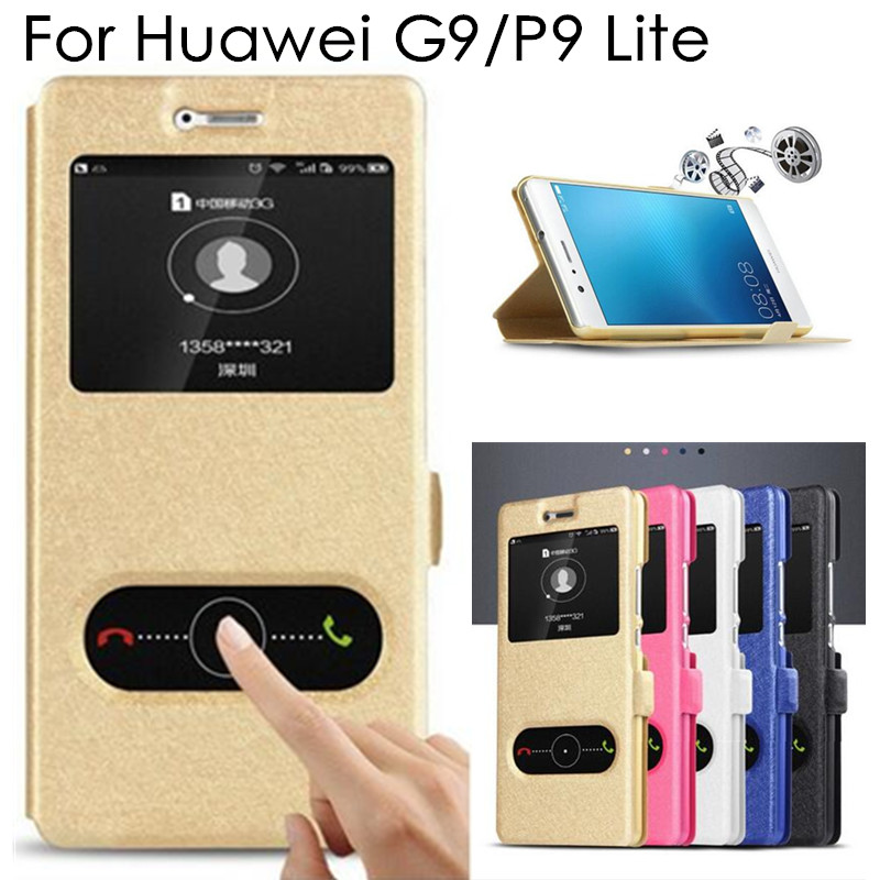 High Quality P9 Lite Flip Case Cover for Huawei G9 P9 Lite PU Leather Phone Bags Cases with Stand Function P 9 Lite Covers(China (Mainland))