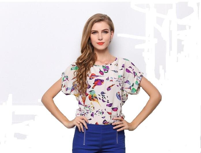 S M L XL XXL Femininas Blusas Plus Size Women Summer Chiffon Casual Tropical Printed Blouse Shirt Short Sleeves 19 Designs - Small GIFTER store
