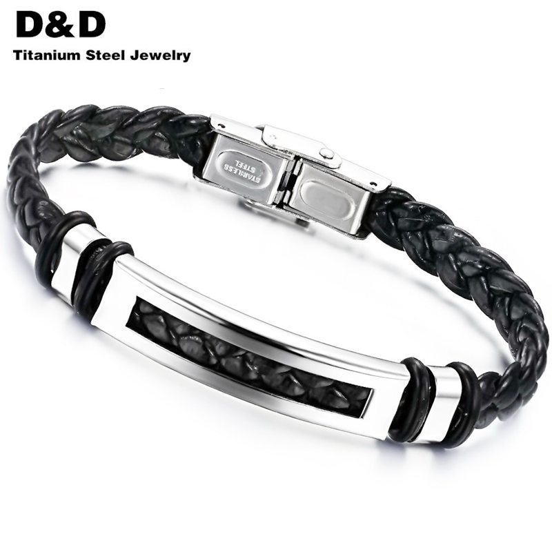 2016 JEWELRY New Wholesale man 316L stainless steel ID Nameplate black PU leather weave Bracelet men, free shipping PH766TYA(China (Mainland))