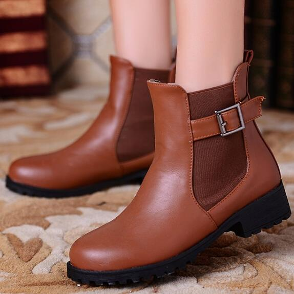 Women fashion Round toe Square heel ankle boots, Chelsea boots new Fall(China (Mainland))