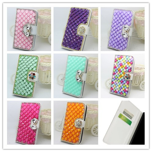 luxury More options 3D Handmade Diamond crystal PU leather wallet flip slot cell phone Case For Samsung Galaxy S2 S II i9100(China (Mainland))