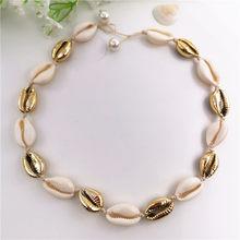 Moda biały naturalny Cowrie Shell Choker naszyjnik dla kobiet metalowy wisiorek z muszli wyróżniający się naszyjnik Collier złoty kolor biżuterii(China)