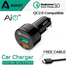 AUKEY For Qualcomm Quick Charger 3.0 9V 12V 2 Ports Mini USB Car Charger for iPhone 6s iPad Samsung HTC Xiaomi QC2.0 Compatible(China (Mainland))