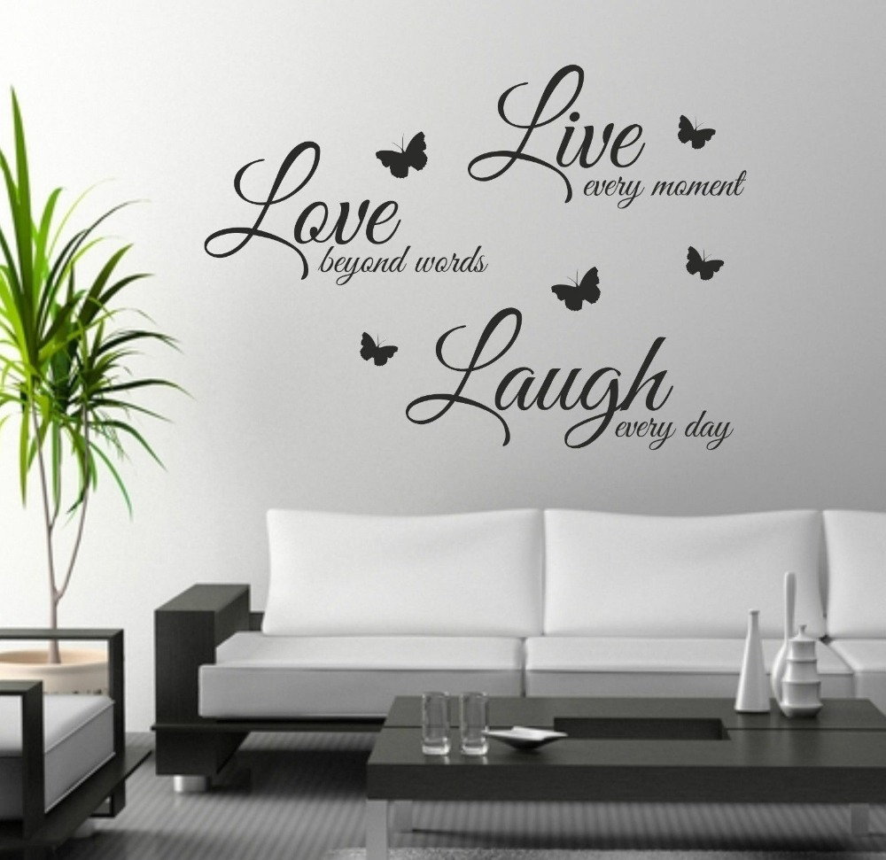 Live Laugh Love Wall Art Sticker Quote Wall Decor Wall Decal Words Butterflies In Wall Stickers