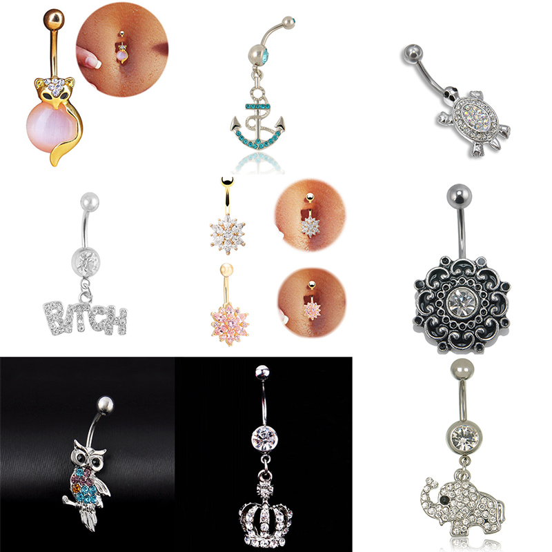 2016 Fashion Body Piercing Jewelry Cubic Crystal Gold Silver Owl Elephant Butterfly Crown Heart Belly Button Ring For Women(China (Mainland))