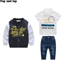 free shipping 2016 new boy 3 piece suit autumn style coat+ t shirt + jeans clothes set baby boy clothes high quality sports suit(China (Mainland))