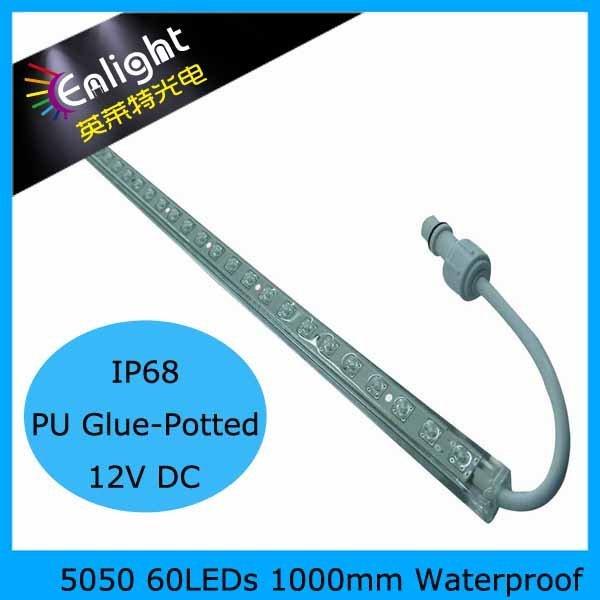 1000mm 60leds, SMD5050, IP65 Waterproof LED Rigid Strip, 20pcs/lot 14.4W/mtr, R/G/B/Y/WW/NW/CW Free Ship!