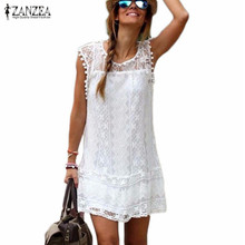 Buy Zanzea Summer Dress 2017 Sexy Women Casual Sleeveless Beach Short Dress Tassel Solid White Mini Lace Dress Vestidos Plus Size for $9.77 in AliExpress store