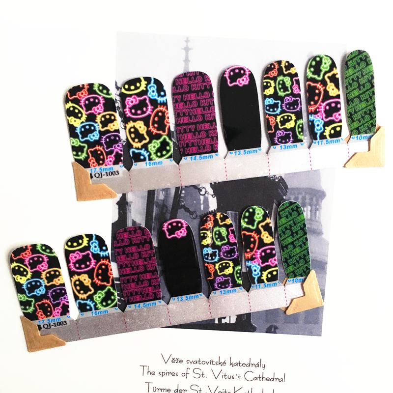 Yellow & purple Fluorescence cat Nail Arts Nail Sticker Waterproof Nail Decal Sticker Gel Polish French Manicure Patch Full Tape(China (Mainland))