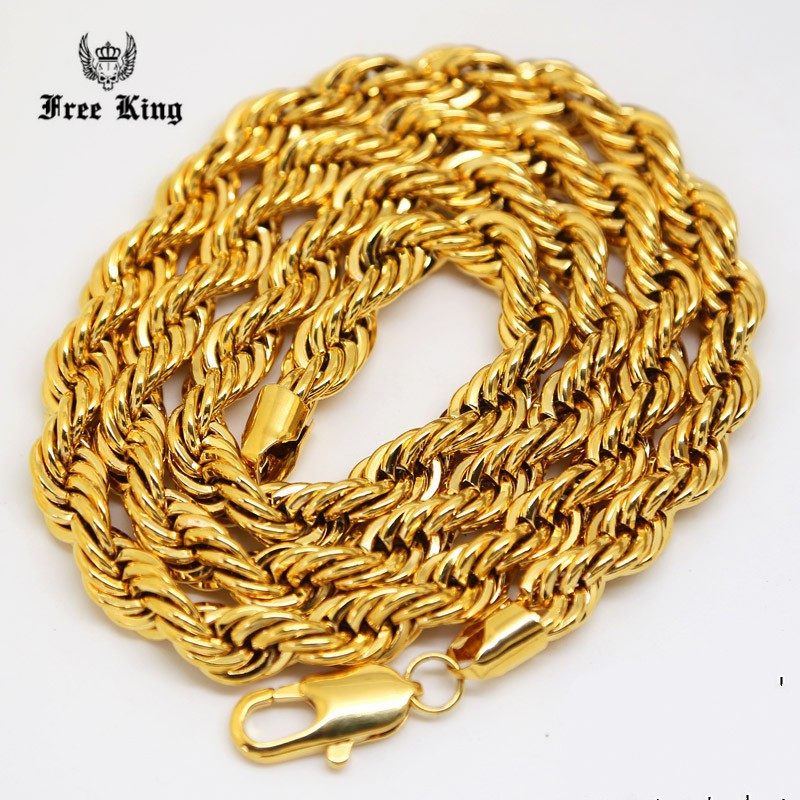 """6mm-10mm Thick 24""""-30""""inch Long Solid Rope Twisted Chain 24K Gold Plated Hip hop Twisted HEAVY DOOKIE Necklace 160gram(China (Mainland))"""