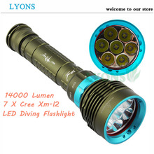 2016 New 14000 Lumen Underwater 200m Torch 7 X Cree Xm-l2 Led Scuba Diving Flashlight Light For 3x18650 Or 26650 Battery(China (Mainland))