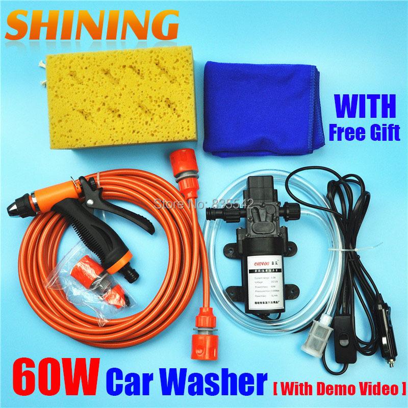 Free Shipping High Pressure Self-priming Electric Car Wash Washer Water Pump 12V Car Washer Washing Machine Cigarette Lighter(China (Mainland))