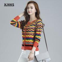 Xjxks Для женщин Кондиционер рубашка полый тонкий свитер короткий кардиган солнцезащитный крем куртка Цвет волны женские Свитеры для женщин(China)
