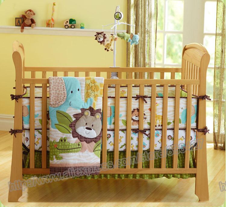 baby bedding crib set forest lion printed baby boy crib bedding set