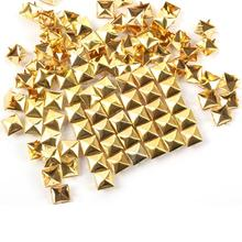 100pcs 12mm Gold Plated Pyramid Studs Rivet Spike Nickel Punk Bag Belt Leathercraft Bracelets Clothes(China (Mainland))