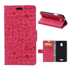 Cartoon Wallet PU Leather Case For Alcatel One Touch POP Star 3G OT5022 5022D Protective Cover Flip Case with Card Slots