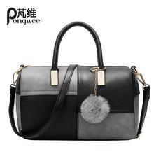 PONGWEE New Casual Patchwork Pillow Handbags Vintage Rolling Luggage Women Ladies Handbag Famous Brand Shoulder Crossbody Bags(China (Mainland))