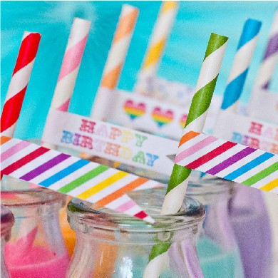 100pcs/Lot Colorful Paper Drinking Straws Happy Birthday Decoration Wedding Favors Children'S Holiday(China (Mainland))