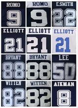 Lower Price Mens High Quality 100% Stitched Color Blue Thanksgiving White Elite Throwback Jerseys(China (Mainland))