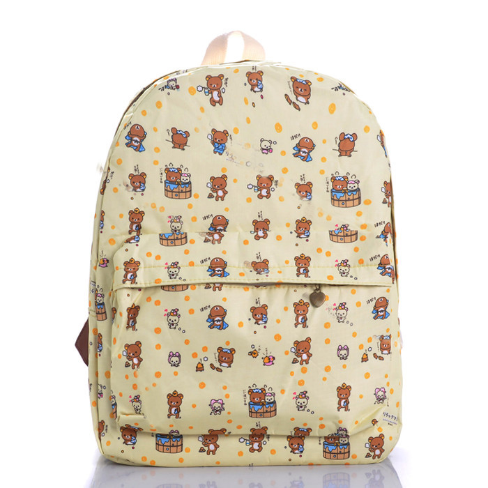 Industrious little bear backpack cute cartoon canvas bag leisure campus students joker travel bags - jian ye's store