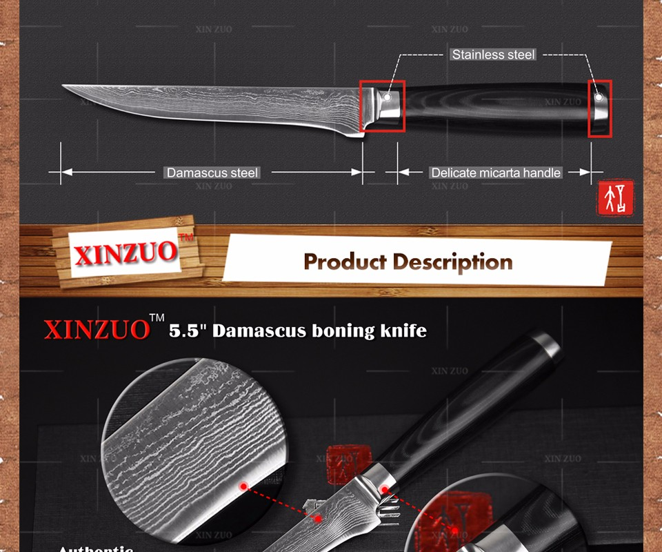 Buy XINZUO 5.5 inch boning knife Japanese Damascus kitchen knives super sharp japanese VG10 chef knife kitchen tool free shipping cheap