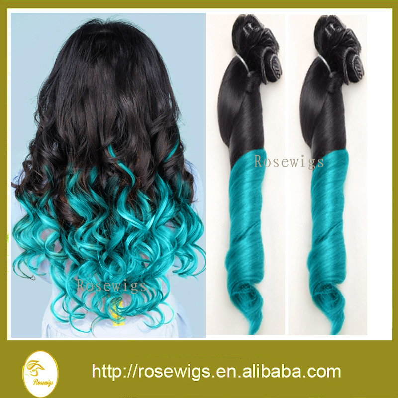 7A Malaysian Aunty Funmi Hair 3Pcs/lot  Malaysian Spring Curly Virgin Hair Ombre Two Tone Color 1b/blue Human Hair Weave<br><br>Aliexpress