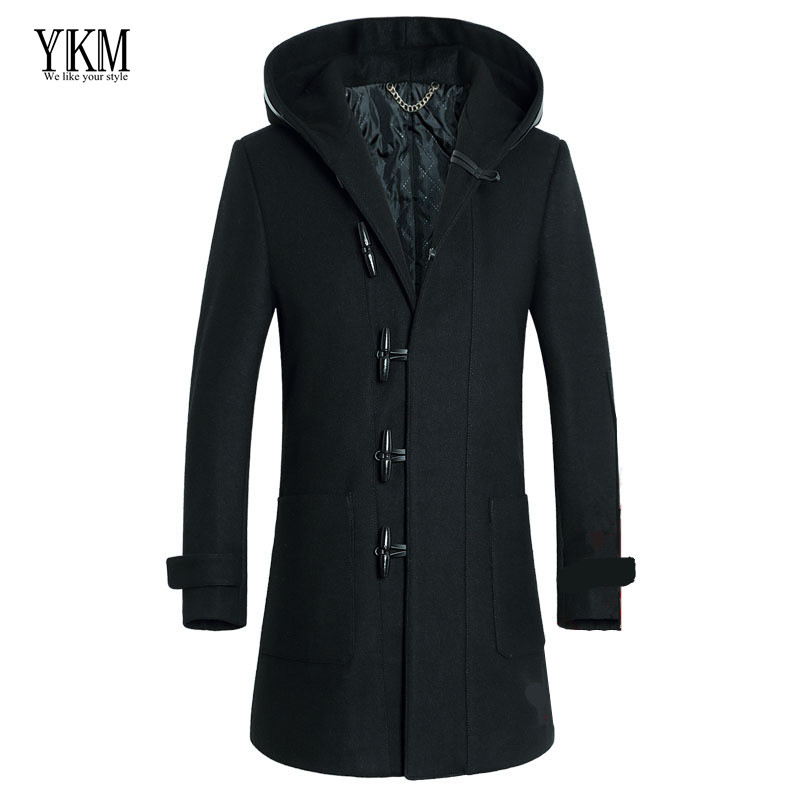 YKM 2015 winter men's coat lapel Slim Hooded thicker wool woolen coat jacket male trench coat for men manteau homme casaco(China (Mainland))