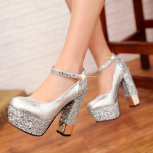 2015 fashion sexy silver gold wedding shoes white black color party women high heel shoes crystal