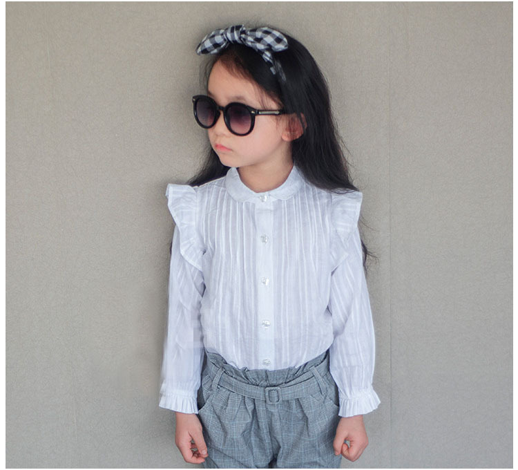 ()- spring autumn long-sleeve white shirt 2-7 year old chilld F5803 girl - guangdong humen costume Factory store