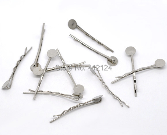 1500 Pcs Free Shipping Wholesales Hot New DIY Silver Tone Bobby Pins Hair Clips with Glue Pad Jewelry Findings Component 4.4cm(China (Mainland))