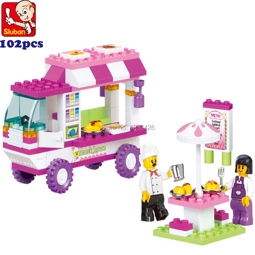 Simple package Sluban M38-b0155 Building Blocks Set Enlighten Food Truck car Fun DIY Educational bricks Toys children kids - Holy Stone House store