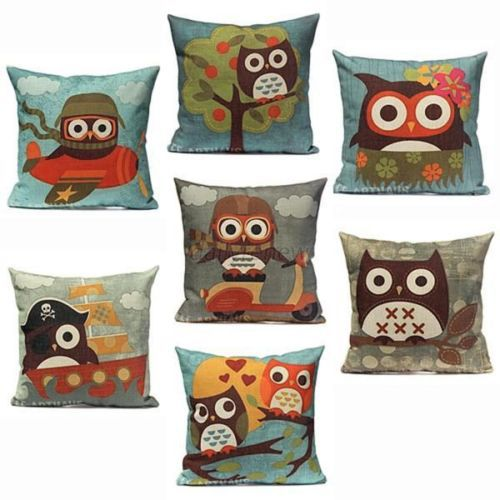 "18"" Cotton Linen Owl Pillow Case Room Decor Back Throw Sofa Cushion Cover(China (Mainland))"