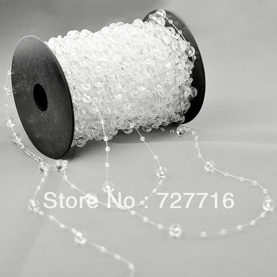 Clear beads Strands Garland 60 Meters Roll x 1 for Wedding tree centerpiece fascinator bouquet Floral Craft Cake Decoration(China (Mainland))