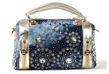 2014 womens summer handbag circular knitted denim diamond portable messenger bag large capacity bag<br><br>Aliexpress