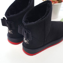 Snow boots new arrival women winter snow boots sapato feminino 2015 fashion Warm shoes bowtie snow women boots(China (Mainland))