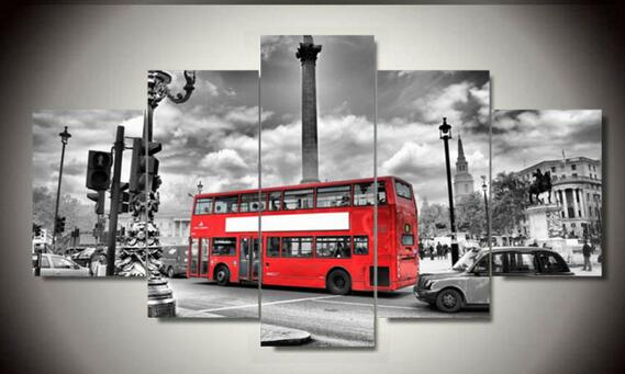 5 Panels British Bus Landscape Hd Canvas Print Painting Modern Home Wall Decor Art Picture Paint On canvas(China (Mainland))