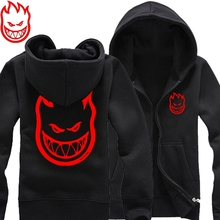 new 2015 free shipping SPITFIRE WHEELS Skateboard Zombie Flaming Head Logo man men male thickening sweatshirt Hoodies cardigan(China (Mainland))