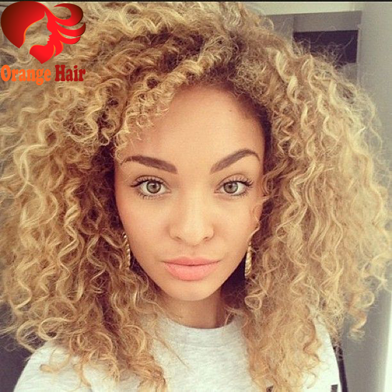 Honey Blonde Virgin Brazilian Kinky Curly Human Hair Full Lace Wigs Remy Hair Front Lace Wig Curls 180% Density Free Shipping(China (Mainland))