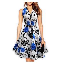 Summer Style Floral Print Maxi Dresses Women Beach Long Print Dress Casual Loose Chiffon Sleeveless Dress Plus Size(China (Mainland))