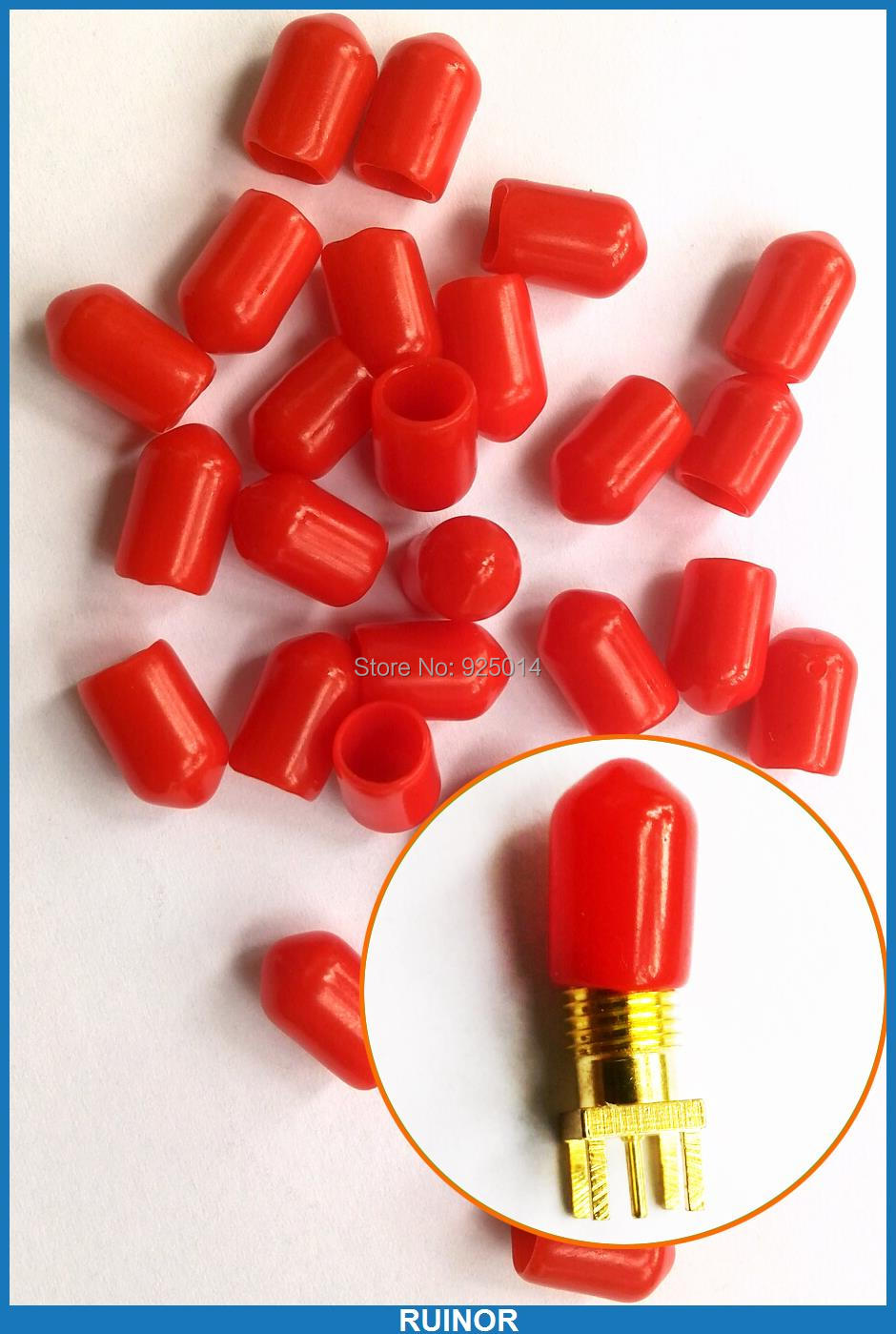 10Diameter 6mm length 10mm Plastic covers Dust cap Red protective case RF-SMA Female connector + - RUINOR store