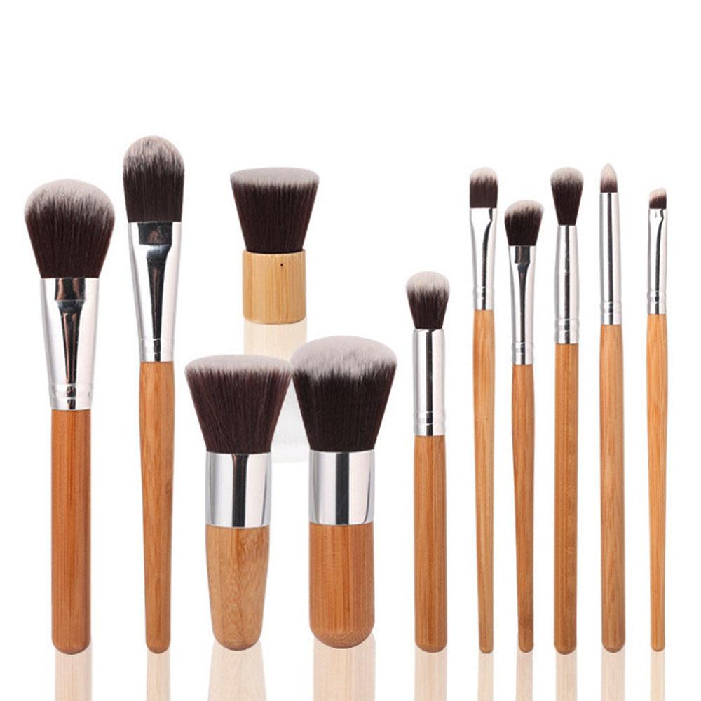 Hot 11pcs/Set Bamboo Brush Set Handle Makeup Eyeshadow Foundation Concealer Cosmetic Makeup Brushes Set with Bag(China (Mainland))