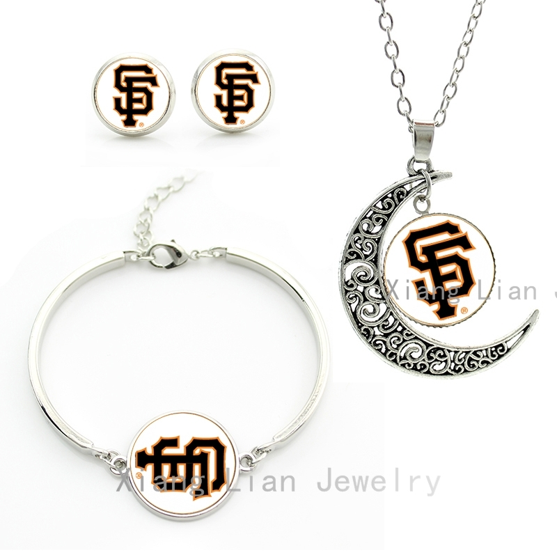 Vintage women jewellery sets case for San Francisco Giants baseball statement necklace earrings bracelet bridal jewelry set M19(China (Mainland))