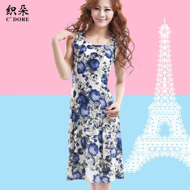 Square collar sleeveless one-piece dress plus size dress mother clothing print chiffon skirt 2013 summer