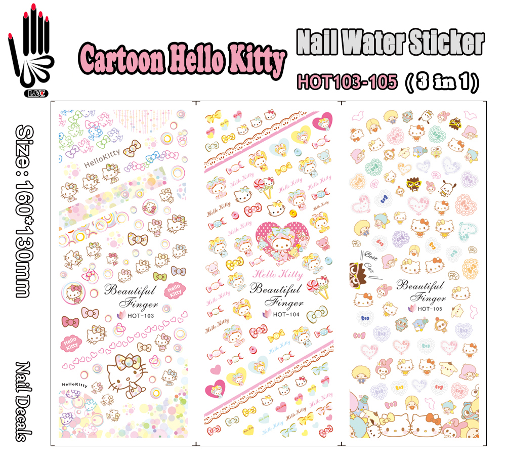 3 Sheets/Lot For Nail HOT103-105 Cartoon Hello Kitty Nail Art Wrap Water Sticker for Nail Art Decoration (3 DESIGNS IN 1)(China (Mainland))