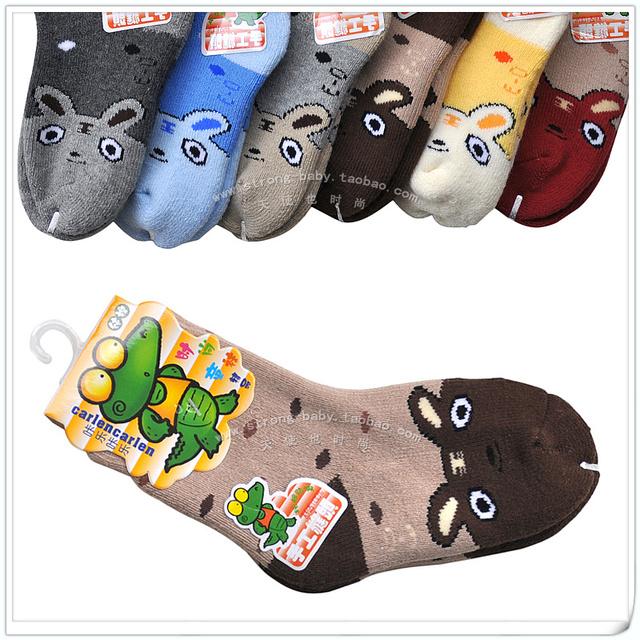 Double 100% baby cotton socks thickening loop pile socks thermal winter socks